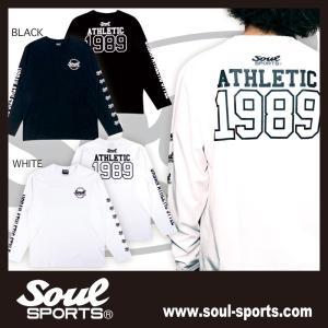 【SOUL SPORTS オリジナル】ナンバリングATHLETICロゴ 長袖Tシャツ コットン100% ホワイト/ブラック 2019新作 soul-sports