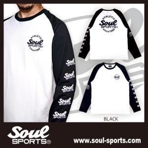 【SOUL SPORTS オリジナル】ATHLETICサークルロゴ 長袖ラグランTシャツ コットン100% ブラック 2019新作 soul-sports