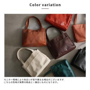多収納ポケットトートバッグ レディース 鞄 フェイクレザー 合皮 バイカラー シンプル エディターズバッグ A4対応|soulberry|19