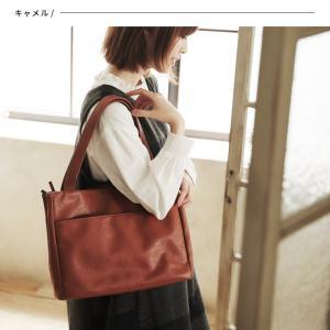 多収納ポケットトートバッグ レディース 鞄 フェイクレザー 合皮 バイカラー シンプル エディターズバッグ A4対応|soulberry|04