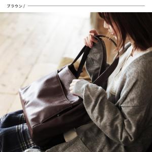 多収納ポケットトートバッグ レディース 鞄 フェイクレザー 合皮 バイカラー シンプル エディターズバッグ A4対応|soulberry|06