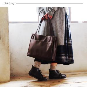 多収納ポケットトートバッグ レディース 鞄 フェイクレザー 合皮 バイカラー シンプル エディターズバッグ A4対応|soulberry|08
