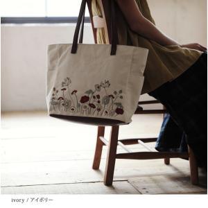 北欧風の花をやさしく咲かせた、多収納トートバッグ レディース 鞄 キャンバス 帆布 肩掛け 手提げ A4 通勤 通学 刺繍 花柄 フラワー soulberryオリジナル|soulberry|11