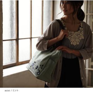 北欧風の花をやさしく咲かせた、多収納トートバッグ レディース 鞄 キャンバス 帆布 肩掛け 手提げ A4 通勤 通学 刺繍 花柄 フラワー soulberryオリジナル|soulberry|10