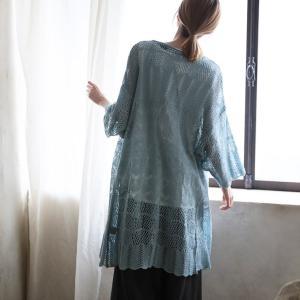甘さひかえめでしっくり馴染む、透かし編みカーディガン レディース 羽織り かぎ針編み ロング ドルマン 7分袖 七分袖 |soulberry