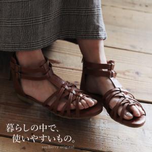 細いラインで飾る、どこまでも歩きたくなるサンダル レディース 靴 シューズ ローヒール フラット グラディエーター soulberry/お客様都合での返品交換不可|soulberry