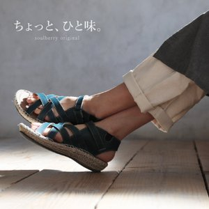 足どりも軽やかになるクロスジュートサンダル レディース 靴 シューズ ウェッジソール ローヒール 合皮 フェイクレザー 幅広 soulberryオリジナル|soulberry