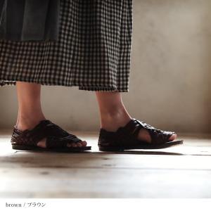 包みこむように編み上げたバスケットサンダル レディース 靴 シューズ メッシュ フラット ローヒール フェイクレザー 合皮/お客様都合での返品交換不可 soulberry 06
