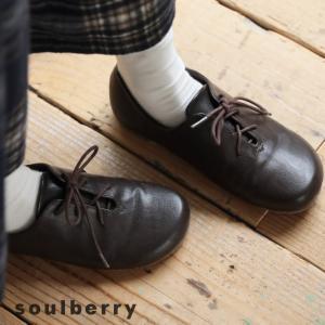 ころんと丸く優しいフォルムで、シンプルに馴染む。フェイクレザーレースアップフラットシューズ レディース 靴 紐 ぺたんこ フラット 合皮 soulberryオリジナル|soulberry
