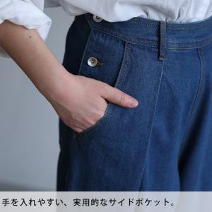 背が小さい人のためのワイドパンツ レディース ロング デニム 無地 ボトムス soulberryオリジナル|soulberry|16