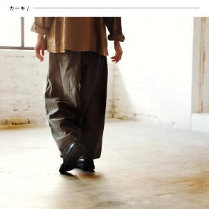 着こなしを甘さひかえめにするワイドバルーンパンツ レディース ワイドパンツ サルエル ロング 綿麻 コットンリネン ボトムス|soulberry|17