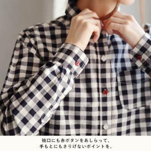 赤いボタンでほんのり彩る丸襟コットンシャツ レディース ブラウス 綿 長袖 ギンガムチェック ストライプ 無地 トップス soulberryオリジナル soulberry 11