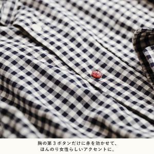 赤いボタンでほんのり彩る丸襟コットンシャツ レディース ブラウス 綿 長袖 ギンガムチェック ストライプ 無地 トップス soulberryオリジナル soulberry 09