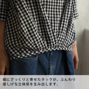 いろんなボタンで心もおどるスキッパーブラウス レディース プルオーバー シャツ コットン 綿 七分袖 7分袖 ギンガム ストライプ soulberryオリジナル|soulberry|16