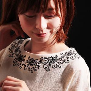 草花刺繍とすっきりラインで飾ったブラウス レディース プルオーバー 綿 コットン 五分袖 5分袖 半端袖 トップス|soulberry