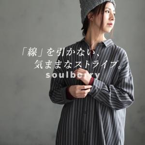 ちょんちょんラインのストライプシャツワンピ レディース チュニック 羽織り 長袖 マルチストライプ|soulberry