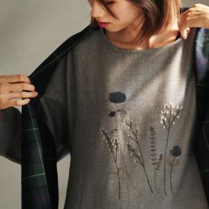 シックだけどひかえめすぎない刺繍ワンピース レディース 長袖 ロング ゆったり 草花柄|soulberry
