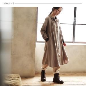 甘くならないダブルガーゼのシャツワンピース レディース 羽織り 長袖 ロング 綿 コットン|soulberry|08