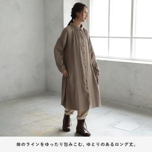 甘くならないダブルガーゼのシャツワンピース レディース 羽織り 長袖 ロング 綿 コットン|soulberry|09