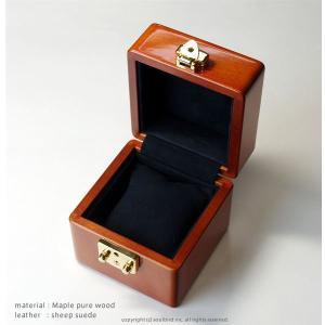 1本用腕時計コレクションケース メイプル無垢材 イタリア製LOCK(金色)/内装レザー仕上げ・シープスエード(紺) セームレザー付属 soulbird