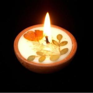 ラウンド ミニ3個セット【テラコッタ☆キャンドル】美麗な押し花が仄かに浮かぶ♪ディスプレイにも最適auroshikha オウロシカ正規輸入|soulmate-lotus