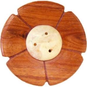 お香立て インセンスホルダー フラワーS 【チーク&ストーン インセンスホルダー】木製 インテリア オウロシカ正規輸入|soulmate-lotus
