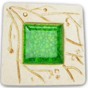 お香立て インセンスホルダー セラミック スクエア サマーグリーンミニ スティック/コーン兼用 インテリア オウロシカ正規輸入|soulmate-lotus