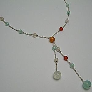 5種類の宝石ボール☆シルバーネックレス♪ セミプレシャスのボールが胸元で跳ねる♪ 5種類 121.5ctの宝石を使っているのに とっても軽い☆14.3 soulmate-lotus