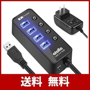 USB3.0ハブ 電源付き, atolla 4ポート高速USB3.0 の 拡張+ 1充電ポート USB Hub 独立スイッチ付 5V/3A ACアダプ|sound-marks