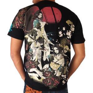 抜刀娘 黄昏 半袖Tシャツ 三人娘 和柄Tシャツ アメカジ メンズ 黒 292150 sousakuzakka-koto