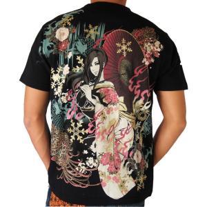 抜刀娘 真夏の雪女 半袖Tシャツ  結愛 和柄Tシャツ アメカジ メンズ 黒 292152|sousakuzakka-koto
