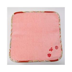 和刺繍タオルハンカチ 桃花色|sousakuzakka-koto