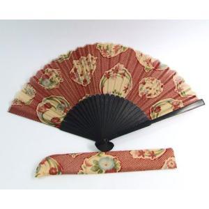 和柄 扇子 花の輪 赤 sousakuzakka-koto