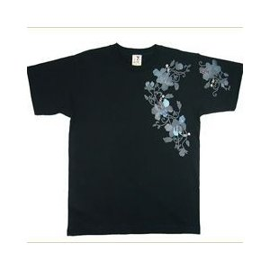和柄Tシャツ むかしむかし 和柄 半袖 Tシャツ メンズ 唐草黒 SX S M L LL 3Lサイズ |sousakuzakka-koto