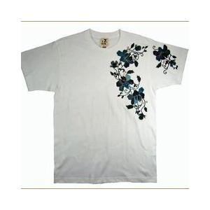 和柄Tシャツ むかしむかし 半袖 Tシャツ 唐草白 XS S M L LL 3L サイズ |sousakuzakka-koto