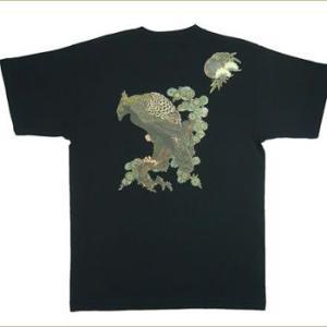 和柄Tシャツ 半袖Tシャツ むかしむかし 鼓鷲黒|sousakuzakka-koto