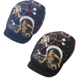 和柄帽子ハンチング メンズ ハンチング  和柄 風神雷神 刺繍 sousakuzakka-koto