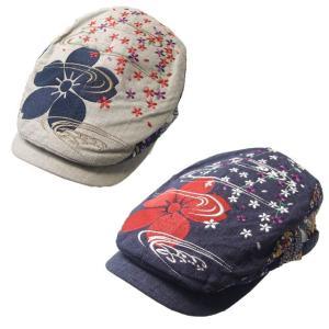 メンズ ハンチング 流水桜 刺繍 和柄 和柄帽子 和柄ハンチング sousakuzakka-koto
