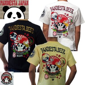 [錦]PANDIESTA JAPAN 和柄Tシャツ 半袖 tシャツ パンダ酒造 メンズ Tシャツ 白/黒|sousakuzakka-koto