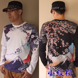 和柄Tシャツ 錦 刺繍 小紋桜 ロンT 長袖 Tシャツ メンズ 白/黒|sousakuzakka-koto