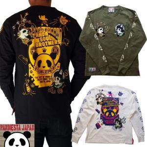 PANDIESTA JAPAN 和柄Tシャツ 長袖 tシャツ 風雷神ソウルロンT パンダ メンズ Tシャツ 白/黒/カーキ 539201|sousakuzakka-koto