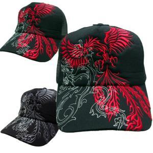 和柄帽子 キャップ メンズ トライバル 刺繍 フェニックス 鳳凰|sousakuzakka-koto