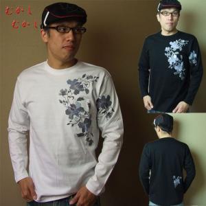 和柄Tシャツ むかしむかし 長袖 Tシャツ ロンT 唐草黒 白S M L LLサイズ|sousakuzakka-koto