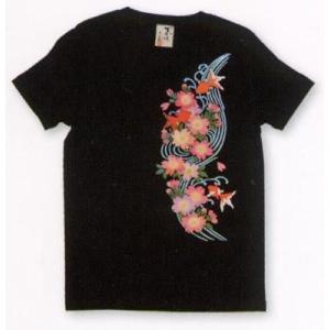 むかしむかし 和柄Tシャツ 半袖 レディース 流水桜金魚|sousakuzakka-koto