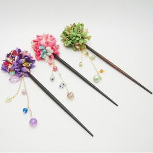 かんざし 花 浴衣 髪飾り 揺れるビーズ ピンク 緑 紫 マリリン|sousakuzakka-koto