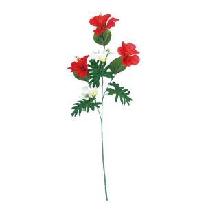 ハイビスカス 造花 スプレイハイビスカス&プルメリア レッド 店舗装飾 ディスプレイ