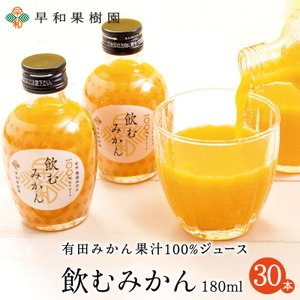 ジュース みかん 有田 果汁100% 送料無料 無添加 ストレート 早和果樹園 飲むみかん 180ml×30本入R  和歌山 温州みかん 健康 sowamikan
