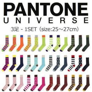 PANTONE パントーン パントン ボーダー ドット 無地 クルーソックス メンズ トレンド|soyous