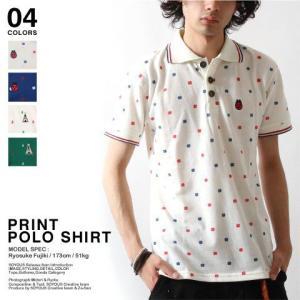 プリント 総柄 てんとう虫 サボテン デザイン 半袖 ポロシャツ メンズ トレンド|soyous