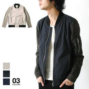 シャツ感覚で羽織れる タイプライター ピーチ起毛 切り替え MA-1 ジャケット メンズ トレンド|soyous